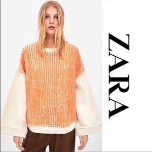 ZARA WIDE SLEEVE ORANGE AND CREAM KNIT SWEATER